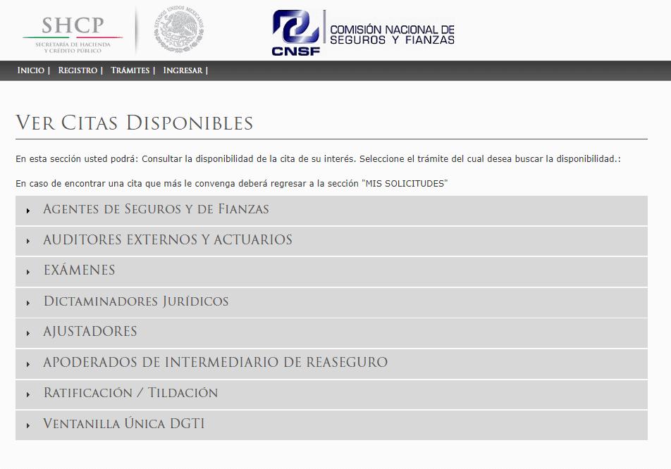Sitio oficial de CNSF citas