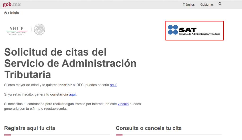Portal oficial del SAT